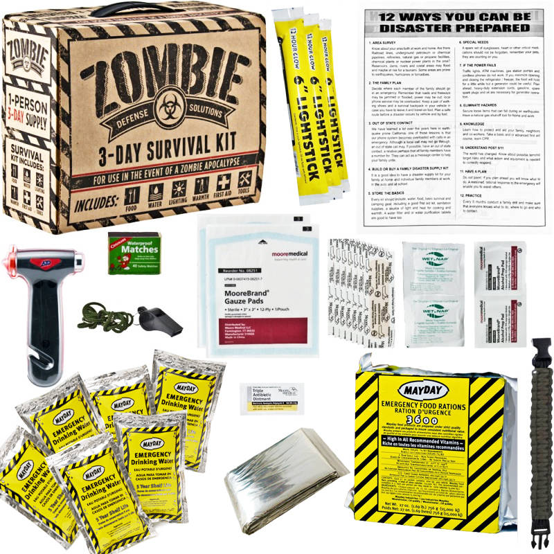 ... Carry Zombie 3 Day Survival / Disaster Preparedness Kit 5 Year Storage